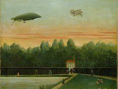 アンリ・ルソー《飛行船「レピュブリック号」とライト飛行機のある風景》1909年 ポーラ美術館蔵